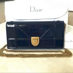 DIOR Diorama Croisiere Wallet On Chain Navy Gold